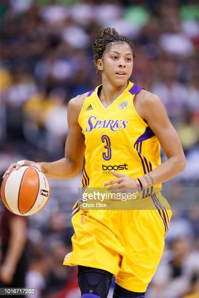 Los Angeles Sparks forward/center Candace Parker brings the ball up court during the Phoenix Mercury 9373 victory over the Los Angeles Sparks at the...
