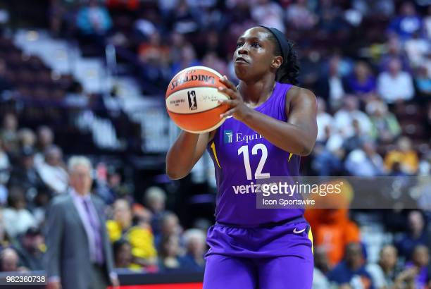 Los Angeles Sparks guard Chelsea Gray attempts free throws during a WNBA game between Los Angeles Sparks and Connecticut Sun on May 24 at Mohegan Sun...