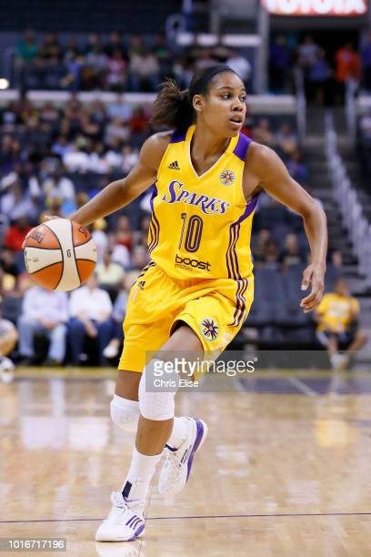 Los Angeles Sparks guard Lindsey Harding dribbles during the Phoenix Mercury 9373 victory over the Los Angeles Sparks at the Staples Center on July...