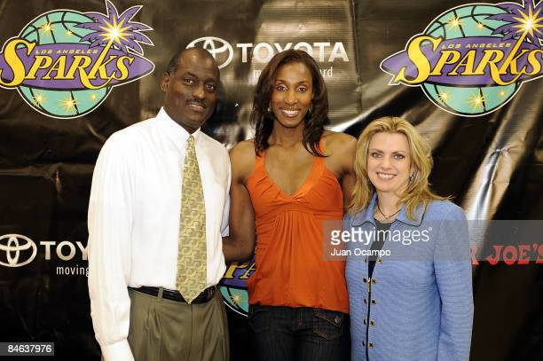 Los Angeles Sparks head coach Michael Cooper Sparks center Lisa Leslie and Sparks coowner Carla Christofferson pose for a photo after Lisa Leslie's...