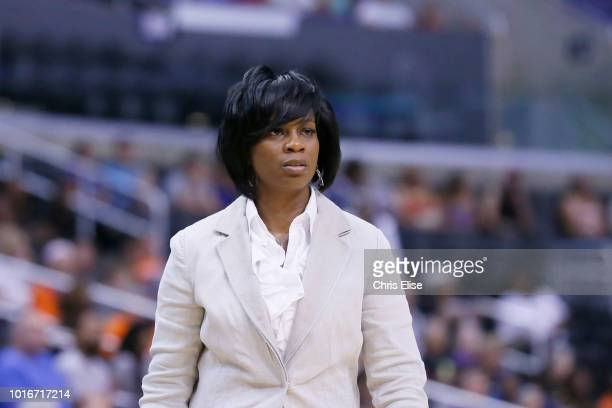 Los Angeles Sparks head coach Penny Toler is seen during the Phoenix Mercury 9373 victory over the Los Angeles Sparks at the Staples Center on July...