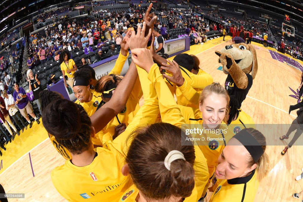 Los Angeles Sparks huddle during the game against the Washington Mystics on July 7, 2018 at STAPLES Center in Los Angeles, California.
