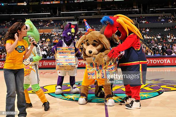 Los Angeles Sparks' mascot Sparky celebrates his birthday with friends before the Sparks take on the Detroit Shock at Staples Center on June 11 2008...