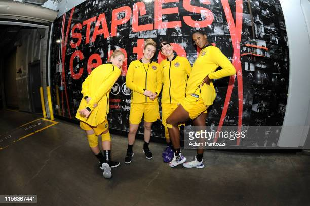 Los Angeles Sparks pose for a photograph before the game against the Dallas Wings on July 18 2019 at the Staples Center in Los Angeles California...
