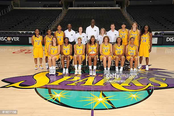 Los Angeles Sparks pose for a team portrait before the game against the Chicago Sky on June 18 2008 at Staples Center in Los Angeles California NOTE...