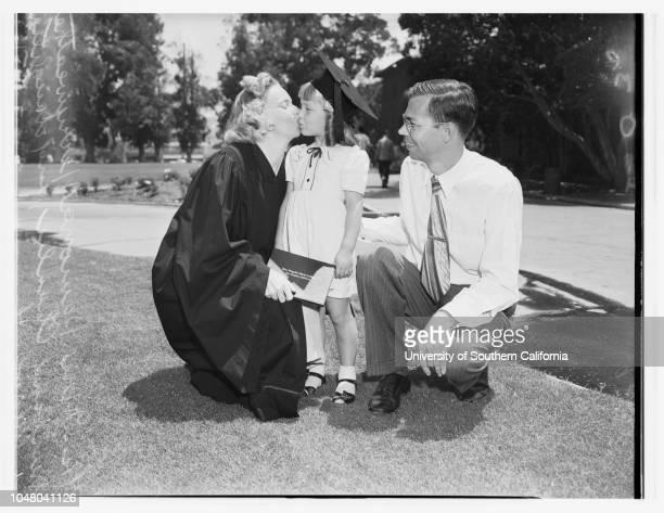 Los Angeles State College graduation 27 July 1951 Guy M AllmonCathy Allmon 2½ yearsDana Allmon 3½ yearsRobert C NieceMrs Irene NieceBobby Niece 5...