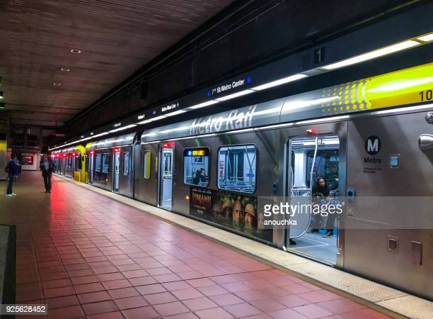 los angeles subway station platform, california, usa - subway station stock pictures, royalty-free photos & images