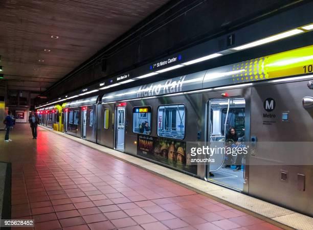 Los Angeles Subway station platform, California, USA