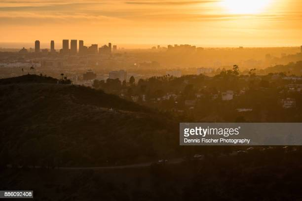 los angeles sunset view - hollywood hills stock pictures, royalty-free photos & images