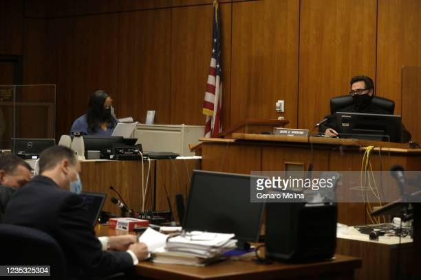 Los Angeles Superior Court Judge Mark E. Windham, and attorneys, listen to the verdict being read finding New York real estate heir Robert Durst...