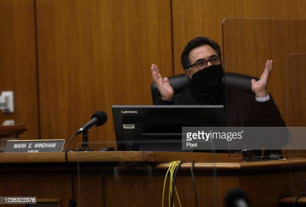 Los Angeles Superior Court Judge Mark E. Windham thanks the jury for their service in Department 1 of the Inglewood Court Building on September 17,...