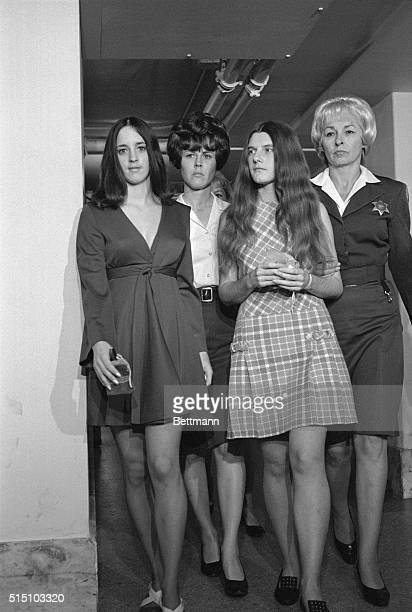 Susan Denise Atkins and Patricia Krenwinkel arrives in court along with Charles Manson accused hippie leader for a hearing at the request of Superior...
