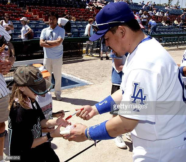 Los Angeles third baseman Norihiro Nakamura signs autographs before the game The Los Angeles Dodgers defeated the Florida Marlins 72 in spring...
