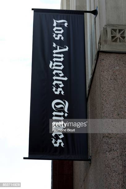 Los Angeles Times' banner hangs outside the Los Angeles Times Building in Los Angeles California on September 10 2017 MANDATORY MENTION OF THE ARTIST...