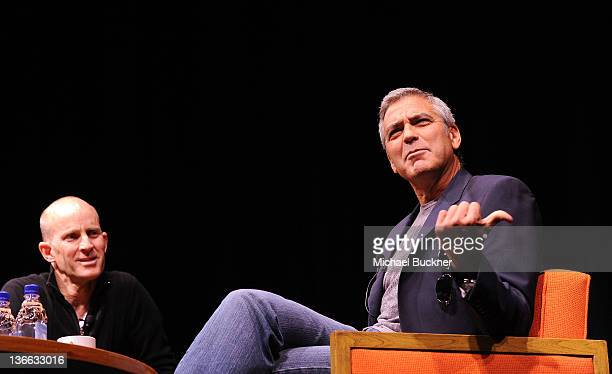 Los Angeles Times Film Critic John Horn and actor/director George Clooney speak at Talking Pictures QA With George Clooney during the 23rd Annual...