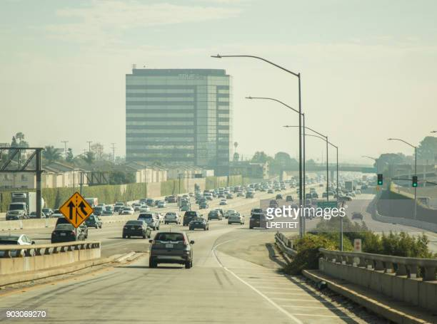 los angeles traffic - highway 405 stock photos and pictures