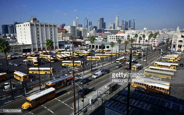 Los Angeles Unified School District school buses are seen in a parking lot in Los Angeles California on January 10 2019 A judge has rejected the...