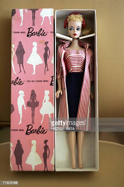 A Barbie Doll is displayed at the room of two Italian collectors and dealers at the Hyatt Regency in Los Angeles 26 July 2006 The Hotel is hosting...