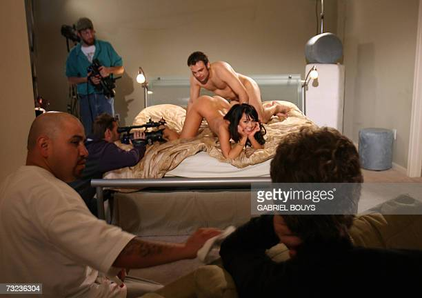 Actors perform on the set of a pornographic movie 29 January 2007 in Los Angeles Blotches blemishes and the occasional patch of cellulite the high...
