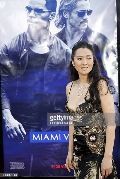 Actress Gong Li poses on the red carpet of the premiere of Miami Vice in Los Angeles 20 July 2006 The movie is inspired from the 1980' television...