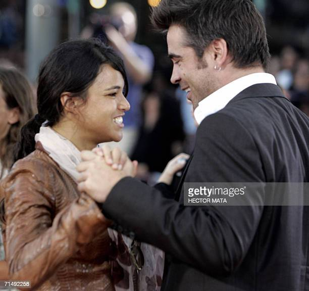 Actress Michelle Rodriguez and Colin Farrell meet on the red carpet of the premiere of 'Miami Vice' in Los Angeles 20 July 2006 The movie is inspired...