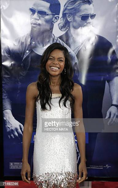 Actress Naomie Harris poses for photographers on the red carpet of the premiere of 'Miami Vice' in Los Angeles 20 July 2006 The movie is inspired...