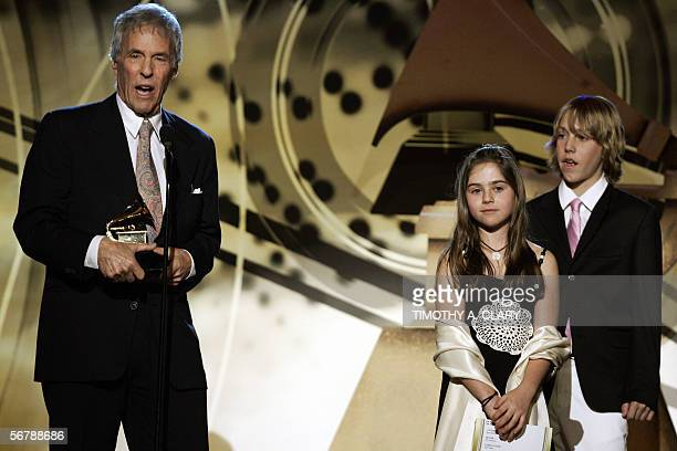 Best pop Instrumental Album winner Bert Bacharach stands with his children during the 48th Annual Grammy Awards pretelecast 08 February 2006 at the...