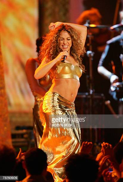 Colombian singer Shakira performs at the 49th Grammy Awards in Los Angeles 11 February 2007 AFP PHOTO/Robyn BECK