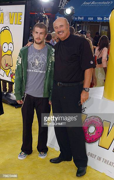 Dr Phil and son Jordan arrive for the World Premiere of 20th Century Fox's animated feature film The Simpsons Movie 24 July 2007 at the Mann Village...