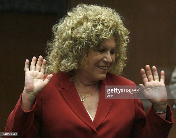 Former defense attorney Leslie Abramson reacts as she talks to Superior Court Judge Larry Fidler during the murder trial of music producer Phil...