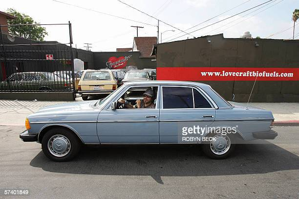 Gary Tomaro a film sound technician arrives in his converted Mercedes diesel which now runs on vegetable oil outside the Lovecraft Biofuels...