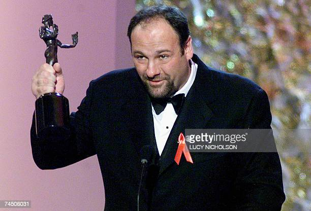 In this 12 March 2000 file photo US actor James Gandolfini accepts the award for best actor in a television drama series for his role in 'The...