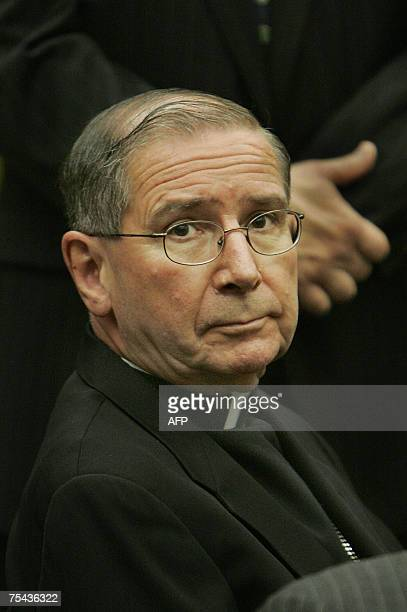Los Angeles Cardinal Roger Mahoney sits 16 July 2007 during the settlement conference at the Los Angeles County court in which the archdiocese agreed...