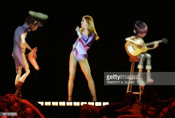 Madonna performs with Gorillaz during the 48th Annual Grammy Awards 08 February 2006 at the Staples Center in Los Angeles AFP PHOTO/Timothy A CLARY