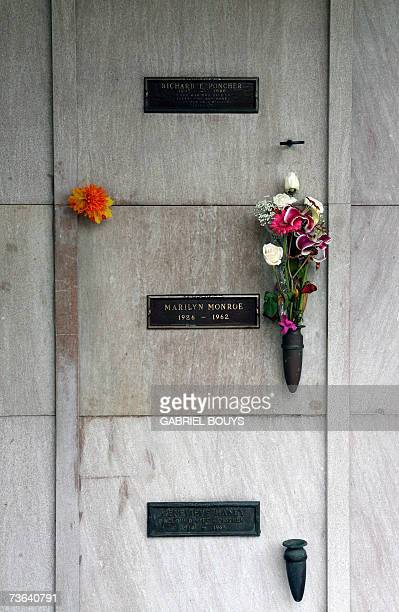 Marilyn Monroe's crypt is seen 19 March 2007 in the Westwood Memorial Park in Los Angeles California Monroe age 36 was found dead by her housekeeper...