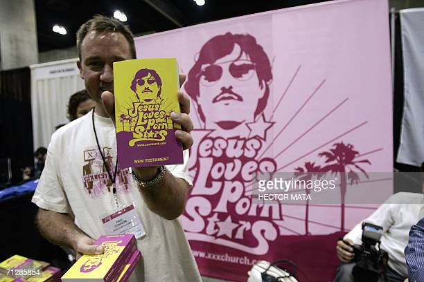 Members of the XXXChurch a Christianfaith group distribute the bible during the 10th Annual Erotica LA in Los Angeles Convention Center 23 June 2006...