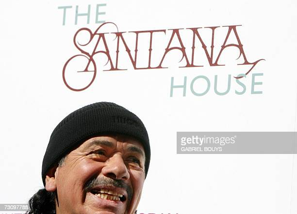 Mexicanborn rock star Carlos Santana jokes during the presentation and ribbon cutting ceremony of the Santana House 24 January 2007 in Los Angeles...