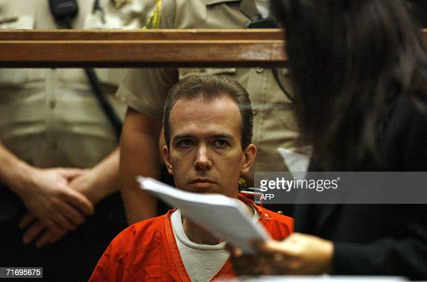 Murder suspect John Mark Karr appears at his extradition hearing at the Los Angeles Superior Court in Los Angeles California 22 August 2006 Karr the...