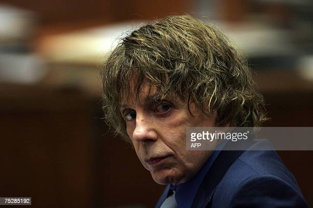 Music producer Phil Spector is seen during his murder trial at the Los Angeles Superior Court in Los Angeles 09 July 2007 Spector is on trial for the...