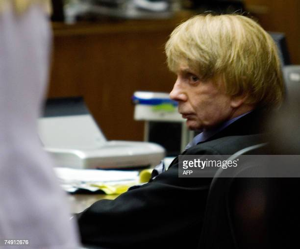 Music producer Phil Spector listens to testimony during his murder trial at the Los Angeles Superior Court 25 June 2007 in Los Angeles CA Spector is...
