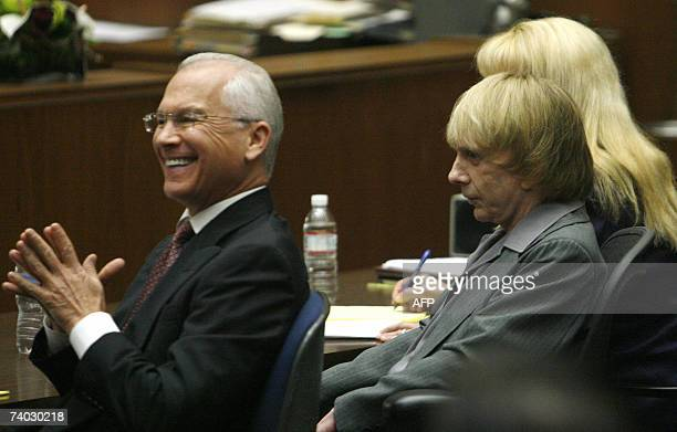 Music producer Phil Spector sits with his attorneys Roger Rosen and Linda Kenney Baden during his murder trial at Los Angeles Superior Court in Los...