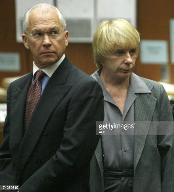 Music producer Phil Spector stands with his attorney Roger Rosen during his murder trial at Los Angeles Superior Court in Los Angeles CA 30 April...