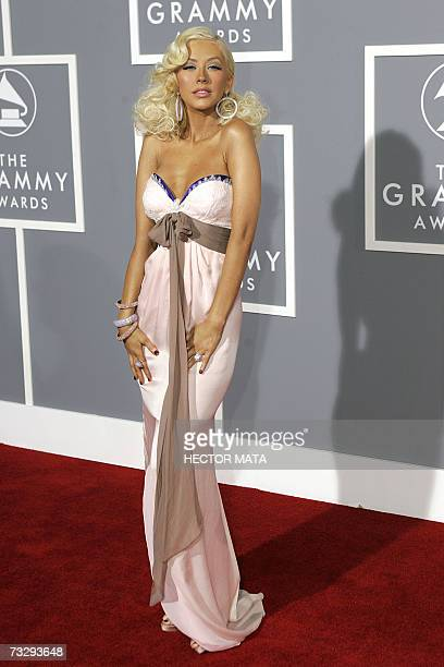 Los Angeles, UNITED STATES: Nominee for Best Female Pop Vocal Performance and Best Pop Vocal Album Christina Aguilera arrives at the 49th Grammy...