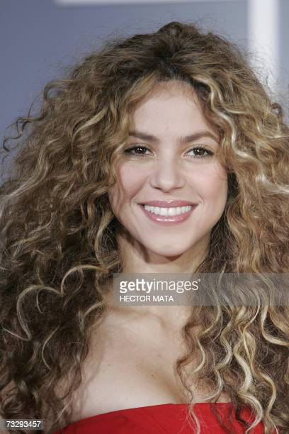 Los Angeles, UNITED STATES: Nominee for Best Pop Collaboration With Vocals Shakira arrives at the 49th Grammy Awards in Los Angeles 11 February,...