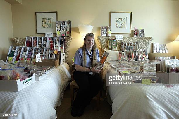 Sherry a Barbie Doll dealer from Chicago waits for customers in her hotel room at the Hyatt Regency in Los Angeles 26 July 2006 Sherry considers that...
