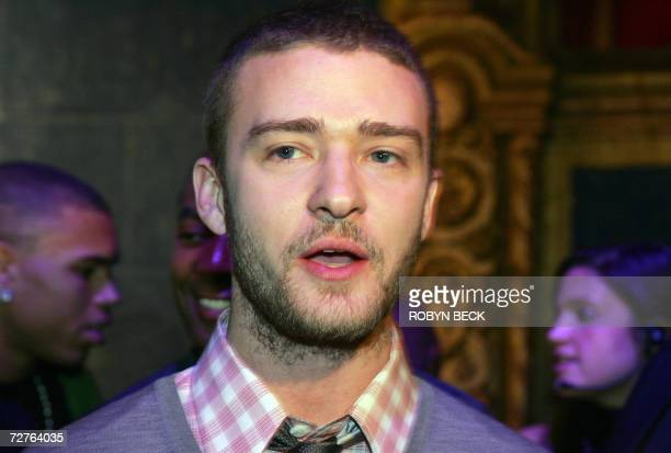 Singer Justin Timberlake talks to the media after a press conference to announce the nominations for the 49th Annual Grammy Awards 07 December 2006...
