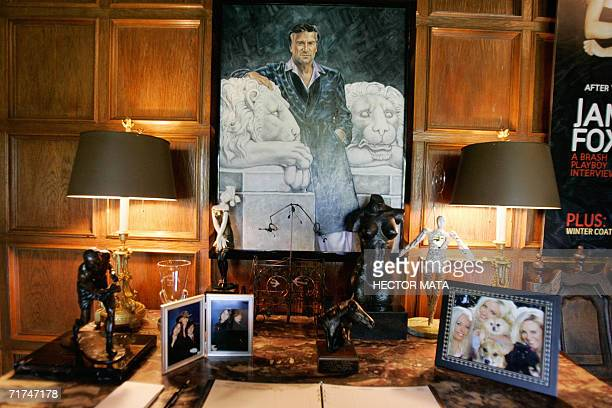 The lobby of Playboy Enterprises CEO Hugh Hefner's mansion is shown in Los Angeles California 23 August 2006 Hefner called journalists to promote the...