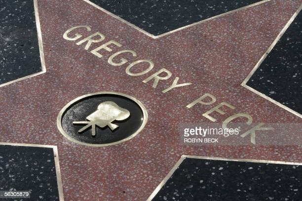 The replacement star on the Hollywood Walk of Fame for legendary actor Gregory Peck shortly after it was unveiled 30 November 2005 in the Hollywood...