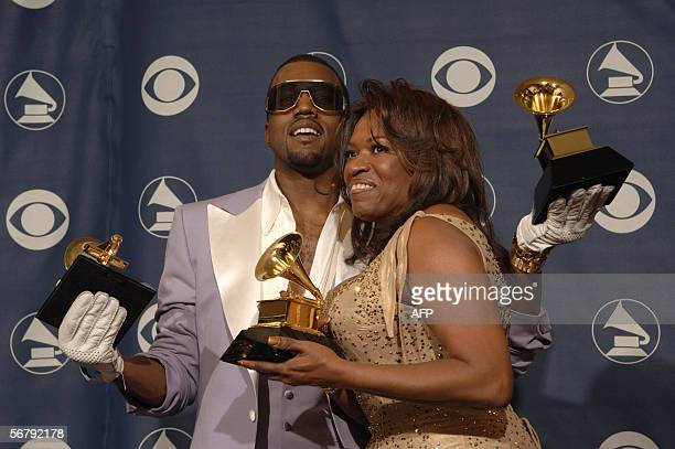 US rapper Kanye West and his mother Donda West pose with the three awards he won at the Grammy Awards in Los Angeles 08 February 2006 West won for...