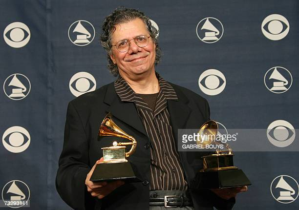Winner for Best Jazz Instrumental Album Individual or Group and Best Instrumental Arrangement Chick Corea poses with his trophies at the 49th Grammy...